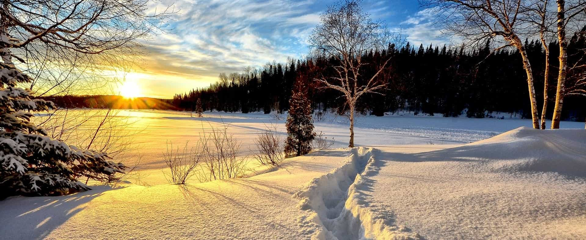 soleil levant sur la neige